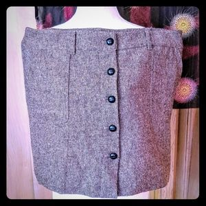 Loft Tweed Brown Pencil Skirt with Chunky Buttons